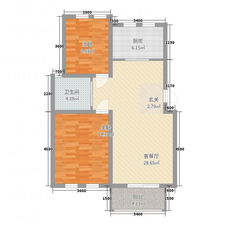 省房・濉河庭院1.36㎡C2栋-户型2室2厅1卫1厨