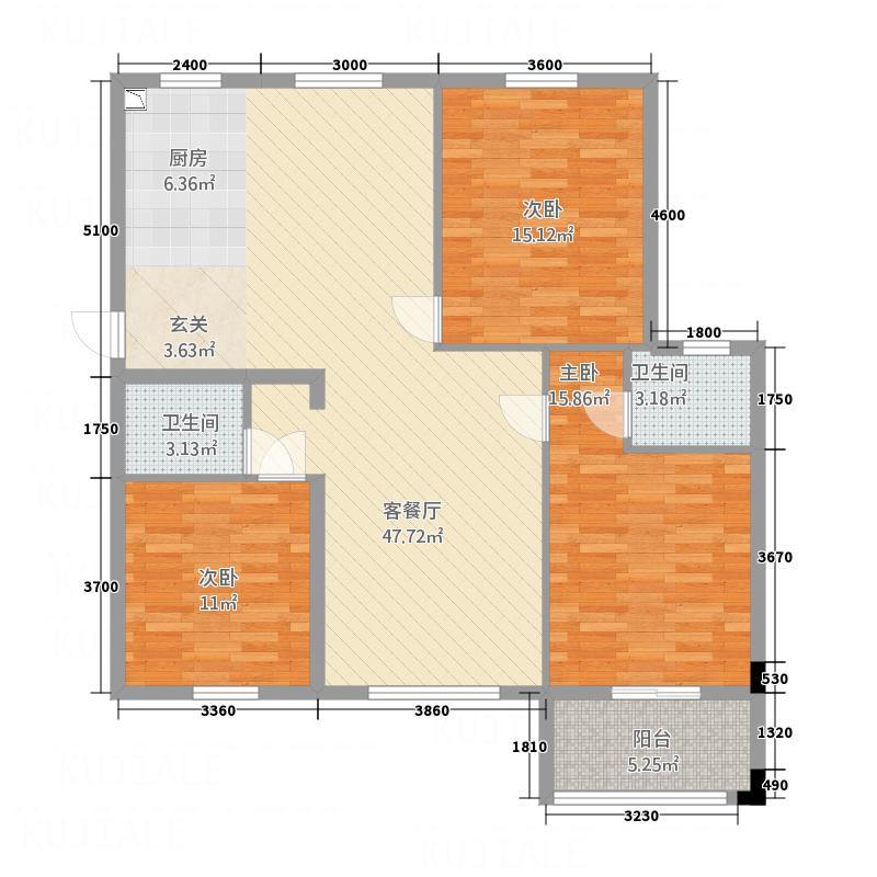 黄山・远景城123.00㎡E户型3室2厅2卫1厨