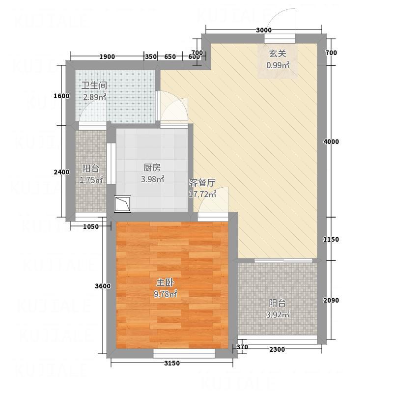 中国水电海赋外滩4.20㎡3-B1户型1室2厅1卫1厨