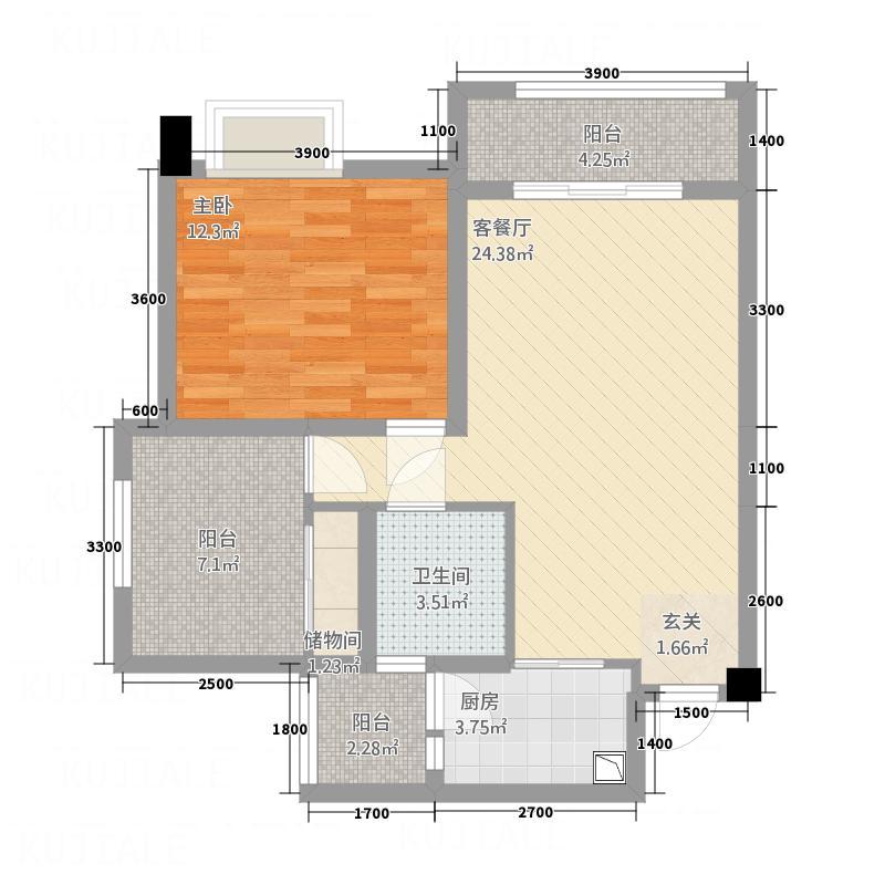 中国水电海赋外滩76.30㎡3-A1户型1室2厅1卫1厨