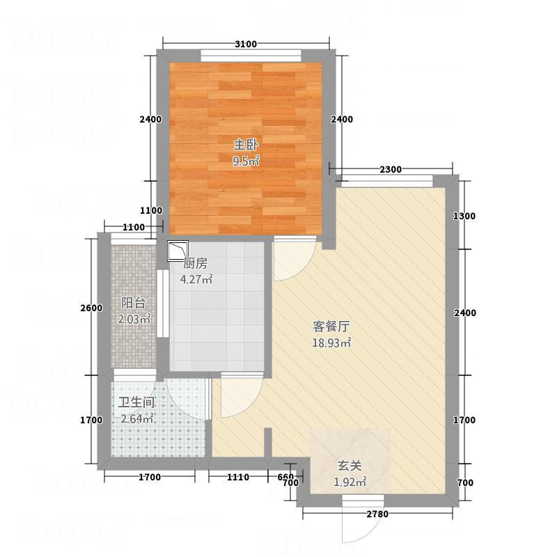 中国水电海赋外滩5.70㎡偶数层2-C户型1室2厅1卫1厨