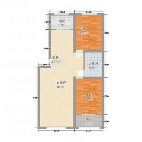 幸福湾2室1厅1卫1厨104.00㎡户型图
