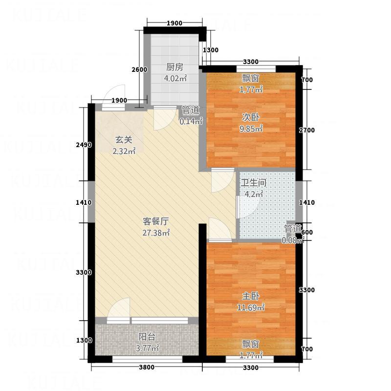 佳兆业中心85.00㎡A户型2室2厅1卫1厨