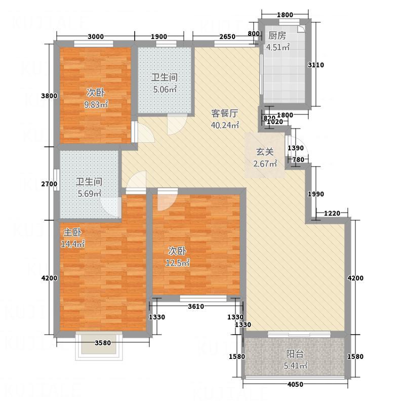 黄山・远景城125.00㎡A户型3室2厅2卫1厨