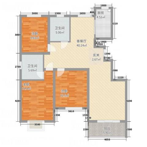 黄山・远景城3室1厅2卫1厨125.00㎡户型图