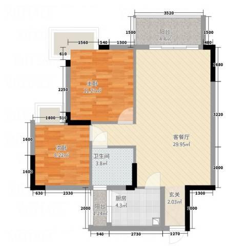 天虹・幸福里2室1厅1卫1厨63.18㎡户型图