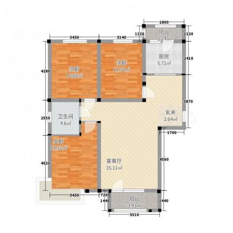 紫金东郡3室1厅1卫1厨127.00㎡户型图