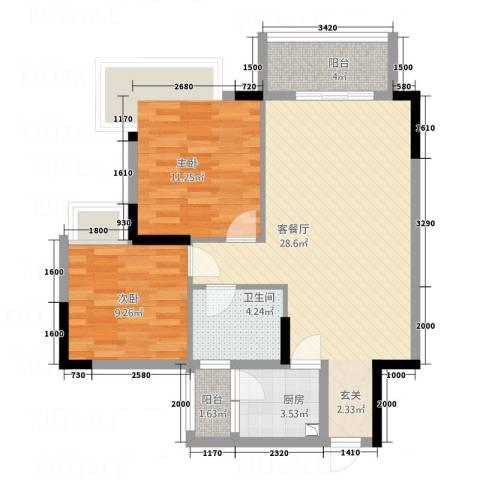 天虹・幸福里2室1厅1卫1厨62.51㎡户型图
