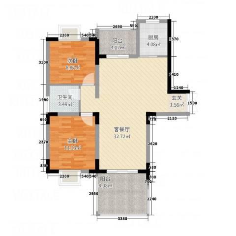 福鼎庄园2室1厅1卫1厨104.00㎡户型图