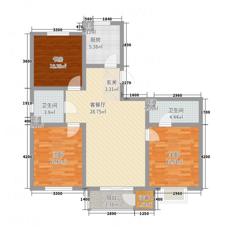 万和佳苑5户型3室2厅1卫1厨