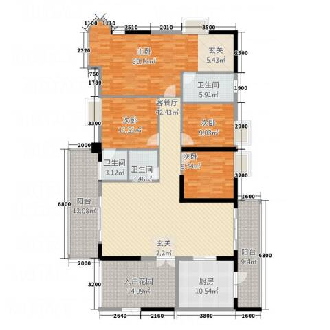 怡景湾三期悦峰4室1厅3卫1厨224.00㎡户型图