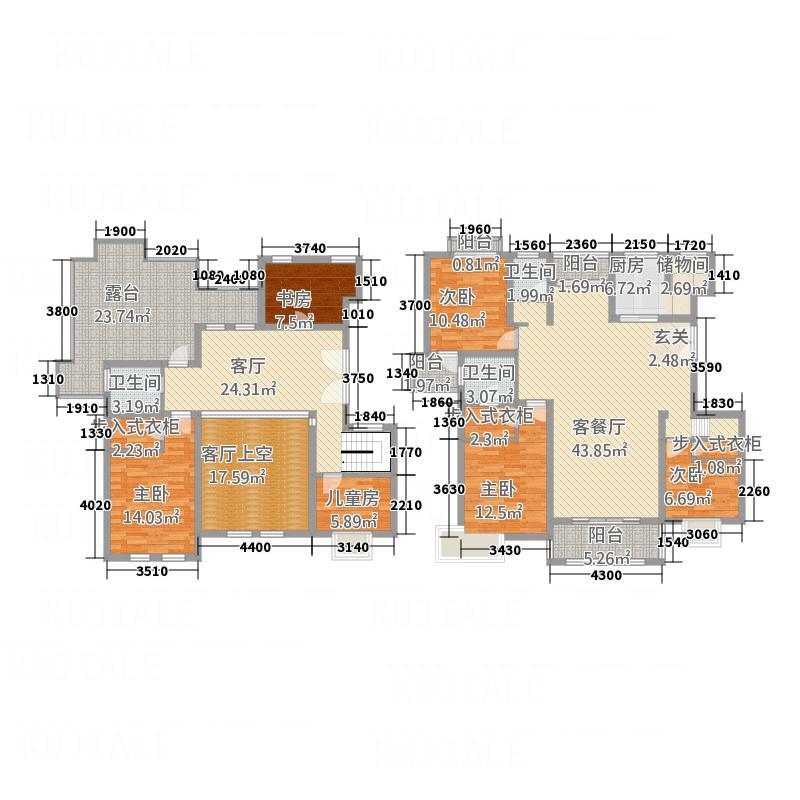 恒基・都市森林281.72㎡A跃层户型6室3厅3卫1厨