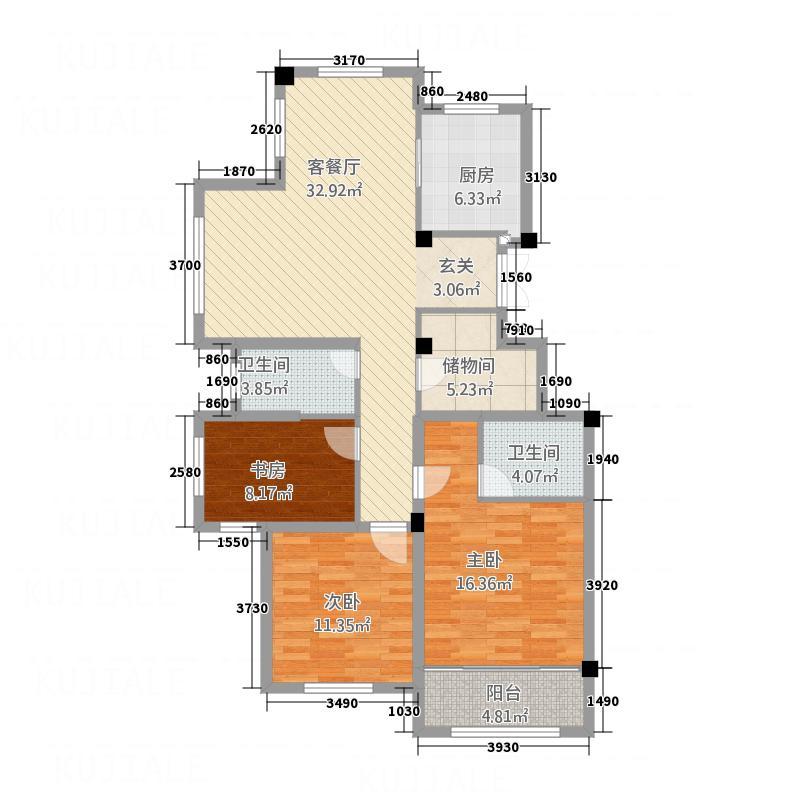 郡城龙泉湾133.00㎡B户型3室2厅2卫1厨