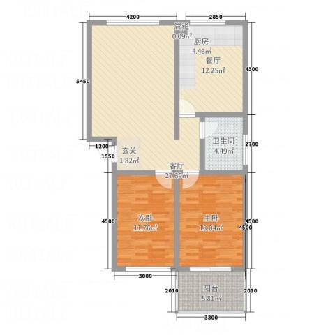 戴河山水天域2室2厅1卫0厨107.00㎡户型图