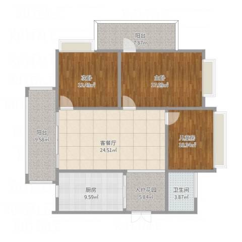 顺宝・天誉花园3室1厅1卫1厨141.00㎡户型图