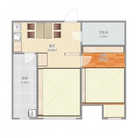 保利金泉1室1厅1卫1厨60.13㎡户型图