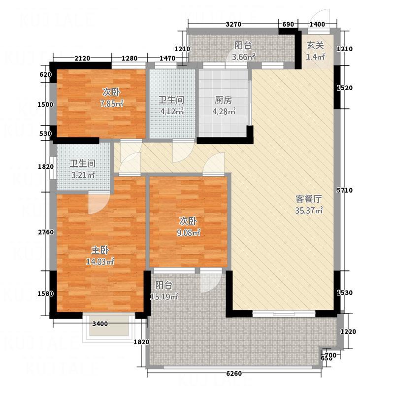 景富豪苑13.20㎡B栋04C栋01户型3室2厅2卫1厨
