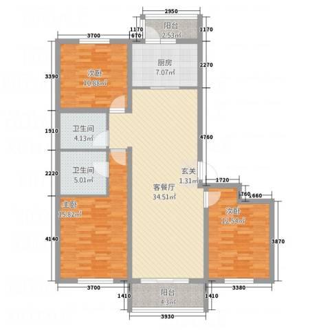 交通・未来城3室1厅2卫1厨137.00㎡户型图