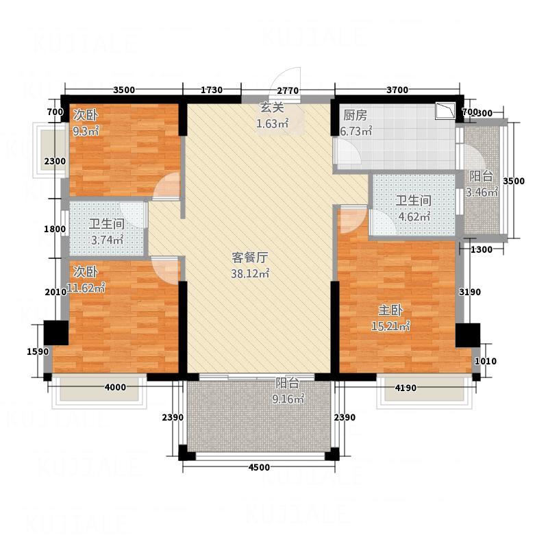 金海湾豪庭127.84㎡6座03单元户型3室2厅2卫1厨