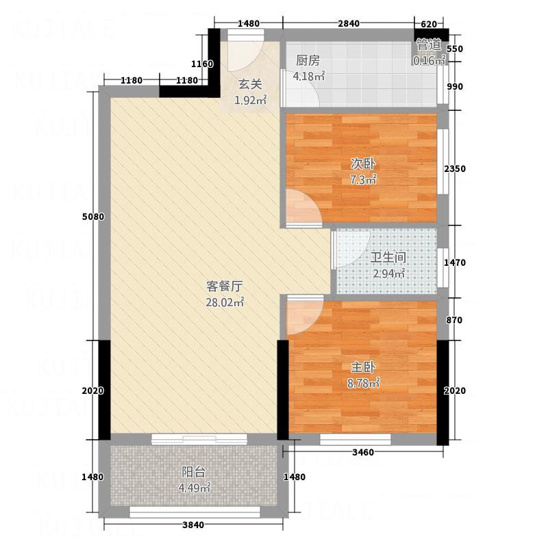 卓远景峰84.00㎡卓远景峰户型图4座042室2厅1卫1厨户型2室2厅1卫1厨