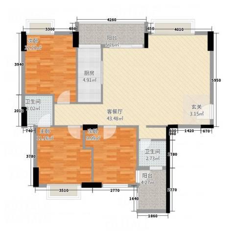 天和豪庭3室1厅2卫1厨111.00㎡户型图