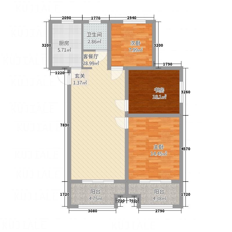 大发・宜景城四期111.00㎡-B1户型3室2厅1卫1厨