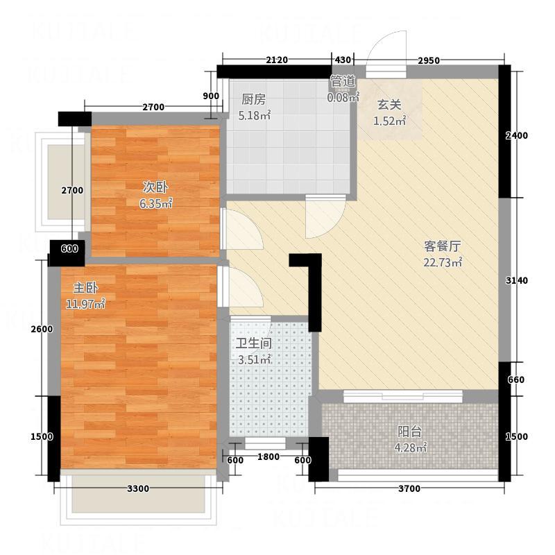 宝圆・财富广场677.62㎡6栋A/B02户型2室2厅1卫
