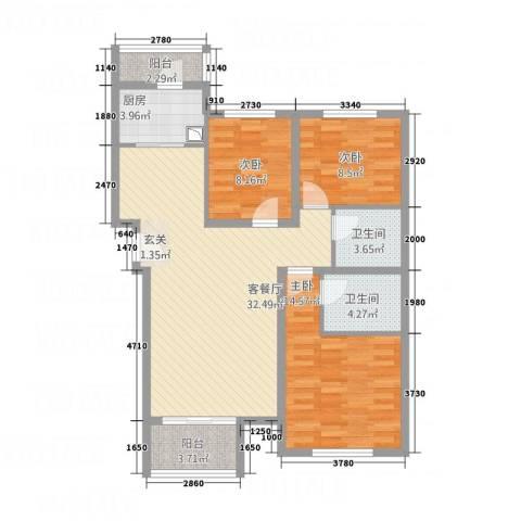 交通・未来城3室1厅2卫1厨117.00㎡户型图