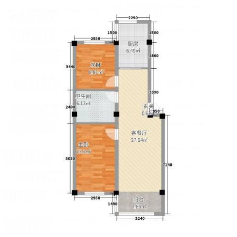 学府世家2室1厅1卫1厨62.26㎡户型图