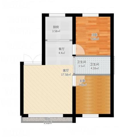御景名都2室1厅1卫1厨60.00㎡户型图
