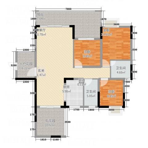 翁江新城3室1厅2卫1厨122.77㎡户型图