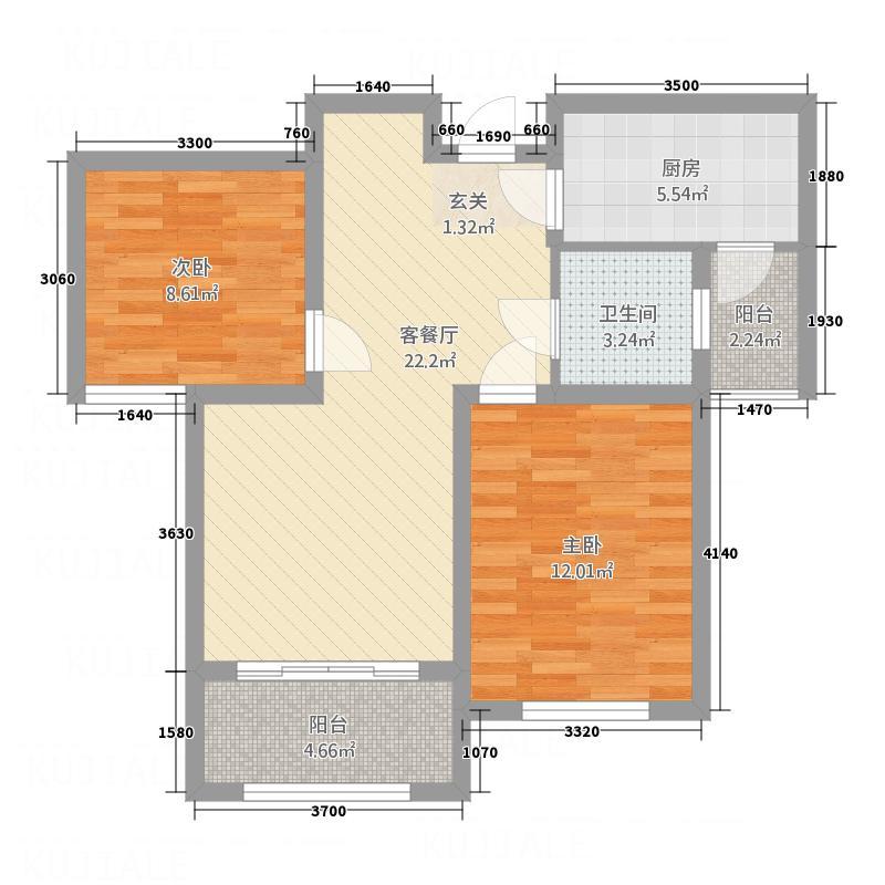 大发・宜景城四期83.00㎡-A2户型2室2厅1卫1厨