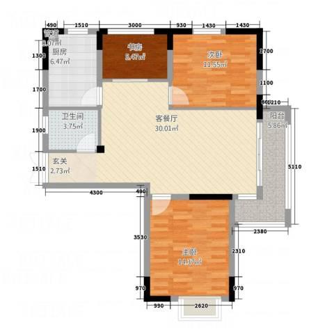 青年城1号3室1厅1卫1厨77.55㎡户型图