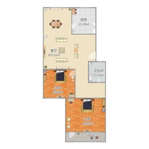 溪翠苑2室1厅1卫1厨299.00㎡户型图