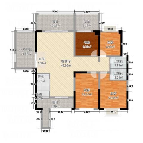 万和乐华花园4室1厅2卫1厨153.00㎡户型图