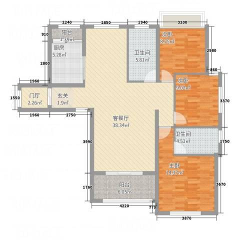 三锦国际3室1厅2卫1厨136.00㎡户型图
