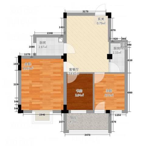 纯净生活3室1厅0卫2厨73.00㎡户型图