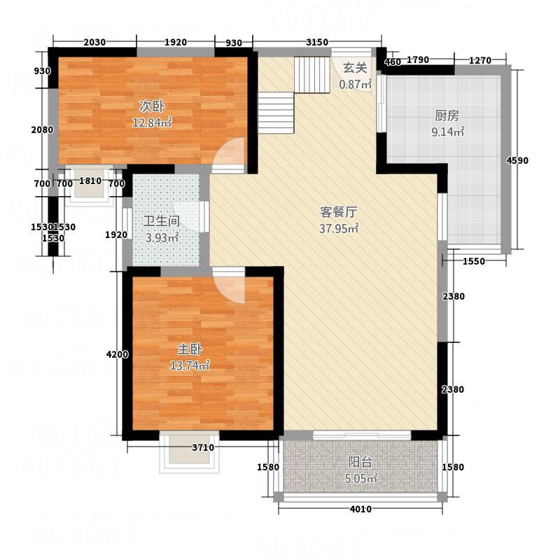 翡翠湾花园15.00㎡A1户型3室2厅2卫1厨