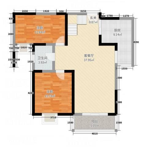 翡翠湾花园2室1厅1卫1厨82.66㎡户型图