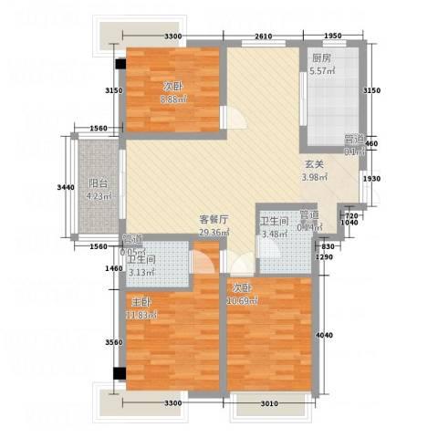 华悦尚城3室1厅2卫1厨112.00㎡户型图