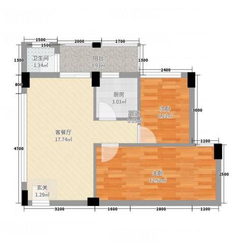 帝景名筑2室1厅1卫1厨64.00㎡户型图