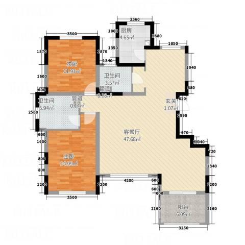 五矿・铂海岸2室1厅2卫1厨135.00㎡户型图
