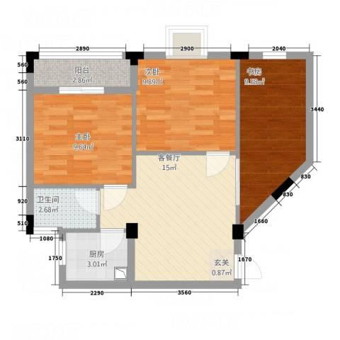 纯净生活3室1厅1卫1厨76.00㎡户型图