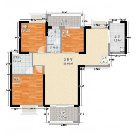 都市雅筑3室2厅2卫1厨84.56㎡户型图