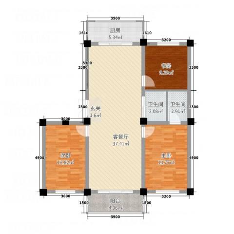 和美雅苑3室1厅2卫1厨3116.00㎡户型图