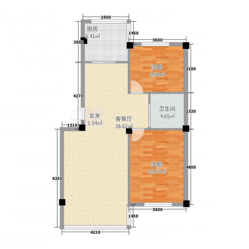 上河城2.60㎡B3户型2室2厅