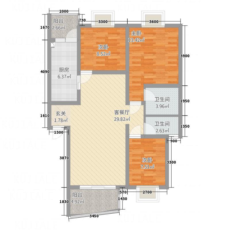 书香雅舍7.40㎡D户型3室2厅2卫1厨