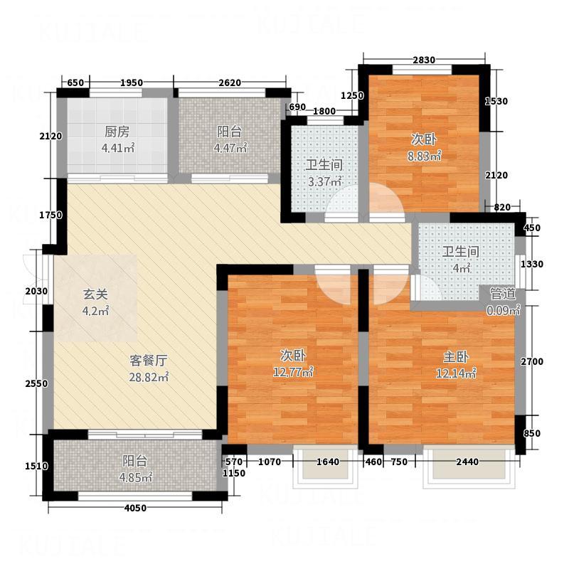 景徽国际122.56㎡B3'户型3室2厅2卫1厨