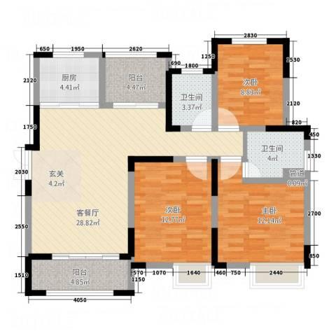景徽国际3室1厅2卫1厨123.00㎡户型图