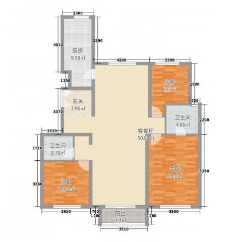 首创・象墅3室1厅2卫1厨110.32㎡户型图